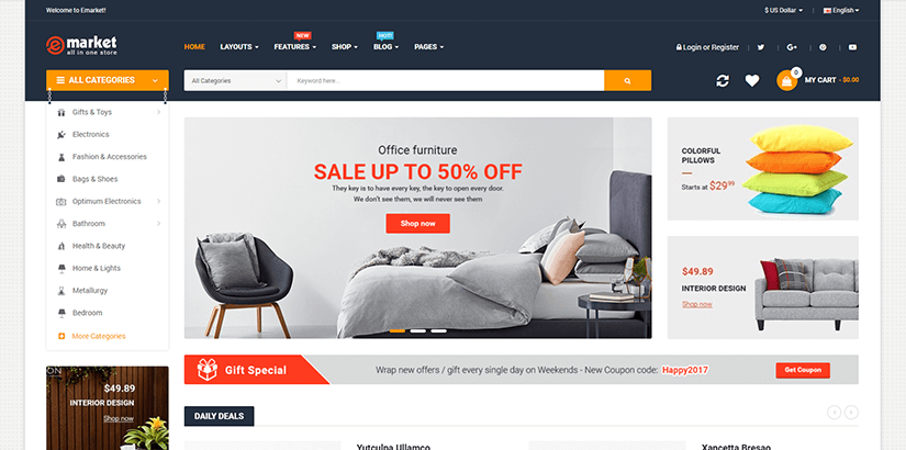 The most popular Ecommerce templates for 2017